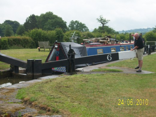 Lock 6 Bosley Locks with narrowboat coming through