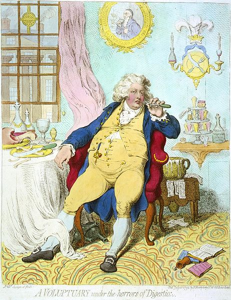 """A Voluptuary"" by James Gillray. Courtesy of Library of Congress."