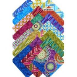 """Benartex SPIROGRAPHIX 5"""" Charm Pack Fabric Squares"""