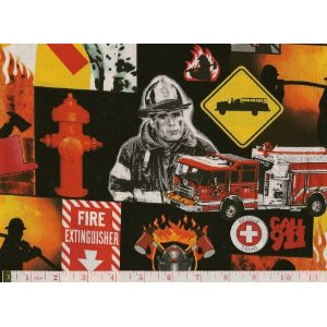"By the Yard Fire Engines ""Call 911"" Quilt Cotton Fabric"