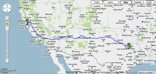 distance between San Francisco and Dallas