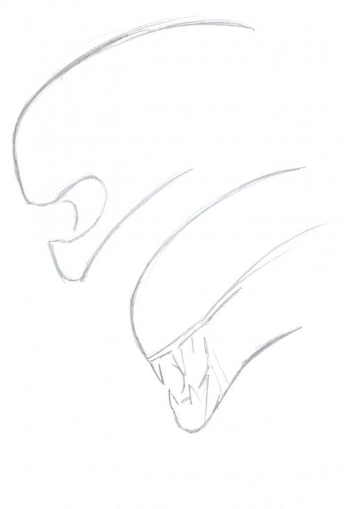 Drawing an Alien Head draft sketches.