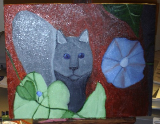 Here is the painting of Maxx before I added the whiskers.