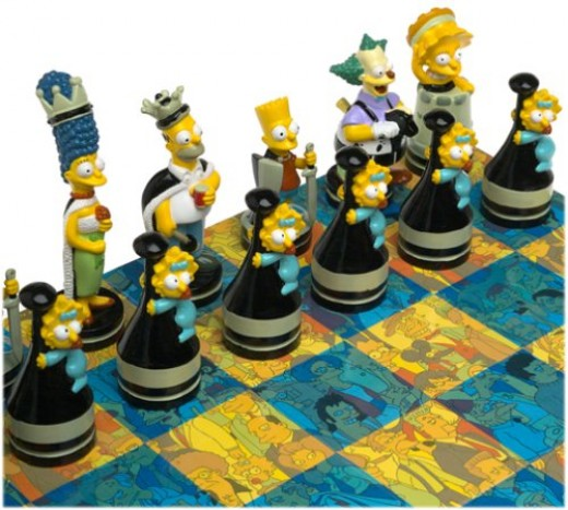 Simpons Chess Game Pieces and Board