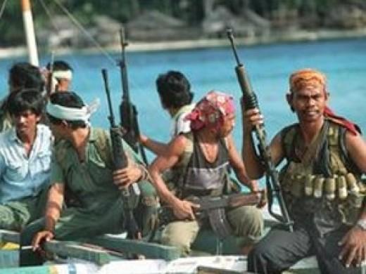 Well armed pirates preparing for a raid