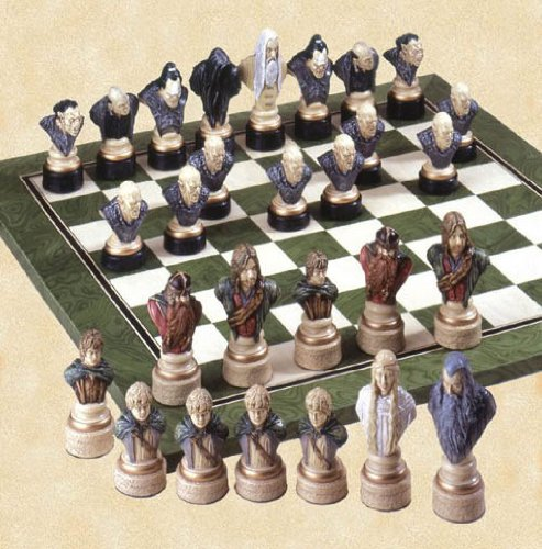 Hand crafted and hand painted Lord of the Rings chess set.
