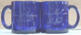 Personalized Wedding Mugs - blue glass with names etched in glass