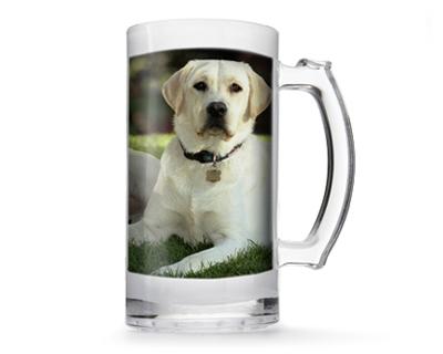 Photo of white Labrador dog on clear mug