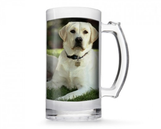 Photo of white Labrador dog on clear mug