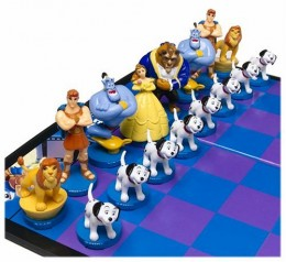 The good team/white in the Disney chess set features hand painted chess pieces like the Beast, Belle, Genie, Hercules and the eight Dalmatians as well as Simba.