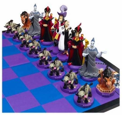 The baddies/black in the Disney chess set features hand painted Disney characters like Captain Hook, Jafar, Hades, Scar and the Eight Hyenas as well as Cruella Devil.