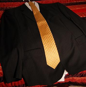This suit is too black for a job interview