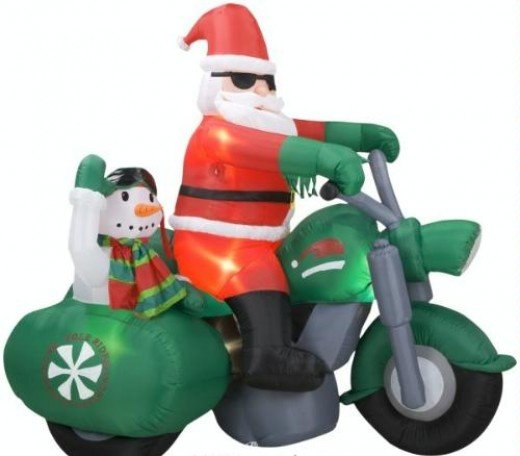 Is there anything cooler or funnier than an inflatable Santa Christmas decoration on a motorbike? I think not!