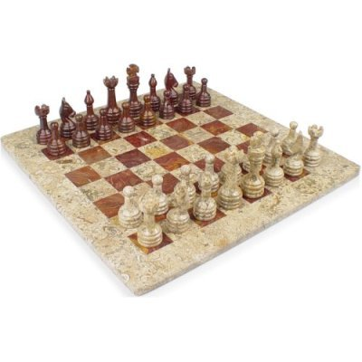 "12"" Fossil Marble and Red Onyx Chess Set - beautiful"