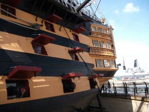 This is a close up of the Captains quarters at the rear of the ship