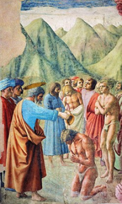 """Baptism of the Neophytes""-by Masaccio-(15th century)"