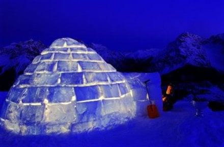 This is an actual igloo as they have been constructed for tens of thousands of years.  A practices Inuit pair can erect one of these in the space of half and hour.