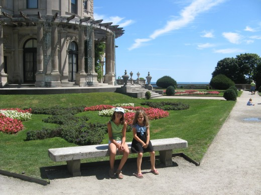 Enjoying the gardens on the grounds of The Breakers Estate