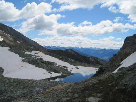 Alps Aldous in British Columbia.   A glacier lake 8000 feet in the air.