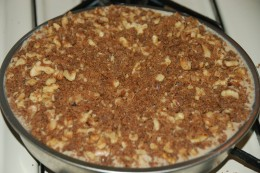After last batter layer is added, the last streusel layer is added!