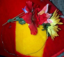 Partial wreath, taping flower stems on.