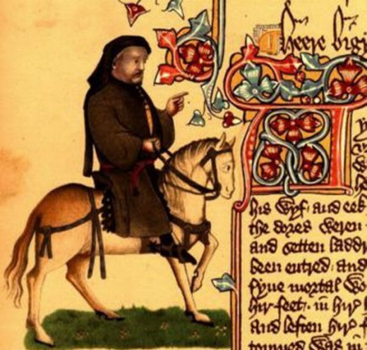 A detail from a medieval manuscript of the Canterbury Tales