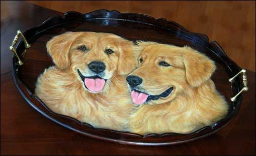 "Merry offers a unique line of hand painted 24"" wood trays. She will paint any breed of dog on your tray. Choose from the 50 Most Popular Breeds Merry will also paint a portrait of your animal. Please call Merry for more information. 904.814.8844"