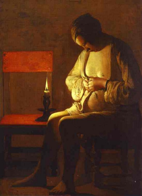 Woman Catching a Flea (c. 1638) Georges de La Tour