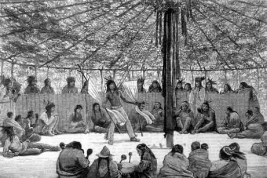 The Cree were one of the first northern contact First Nations peoples that the Europeans encountered and began an active trading relationship. Here we see the sun dance being performed.