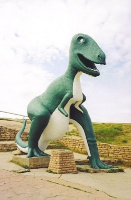 This cement dinosaur may have survived a near miss, but what about next time?