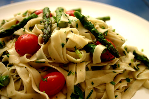 asparagus and grape tomato fettuccini with parsley