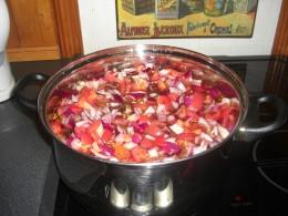 the prepared ingredients