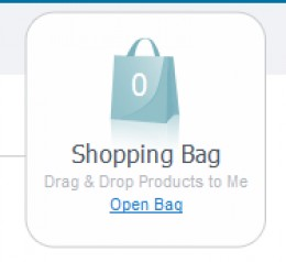 Ecwid is configured by default to drag-and-drop products into their shopping bag