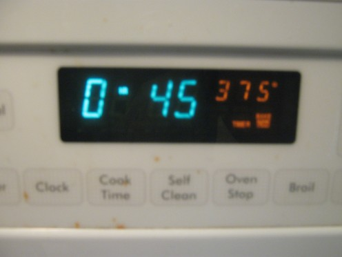 Cook in the oven for 45 minutes at 375.