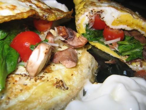 Cheesy Mushroom Omelet fold.