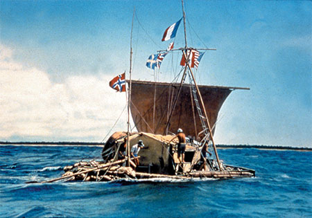 The great explorer and anthropologist Thor Heyerdahl's raft was composed of 9 two-foot thick Balsa logs, ranging in length from 30 to 45 feet, the longest in the middle, lashed to cross beams, covered by a bamboo deck on which is an open hut.