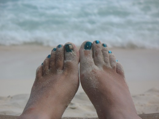 Almond Casuarina Beach, and my toes.