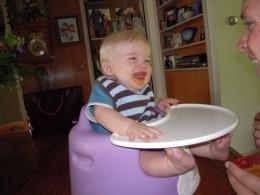 My little man enjoying some sweet potato.