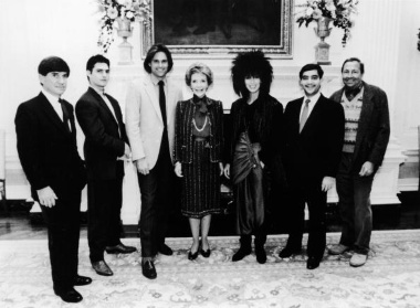 Tom Cruise, second from the left, around the time he made the movie Top Gun.