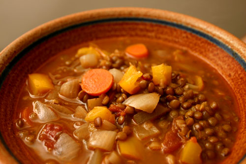 tomato lentil soup with yellow peppers