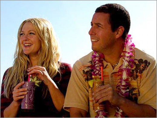 Drew Barrymore and Adam Sandler in 50 First Dates