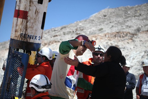 Daniel Herrera, 27, is the sixteenth trapped miner to be rescued from the San Jose mine near Copiapo, Chile on October 13, 2010.