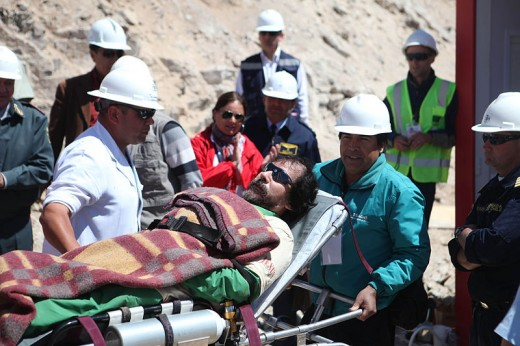 Victor Segovia, 47, is the fifteenth trapped miner to be rescued from the San Jose mine near Copiapo, Chile on October 13, 2010.