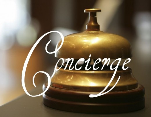 Decorative Words Concierge with Brass Bell