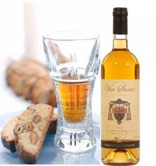 Sweet wine of Italy suggested by both the deep golden color and the Vin Santo designation.