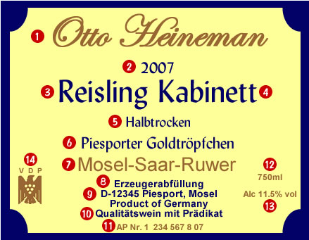 German VDP wine label