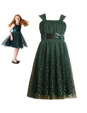 Bonnie Jean Teel Blue Glitter Dot Dress