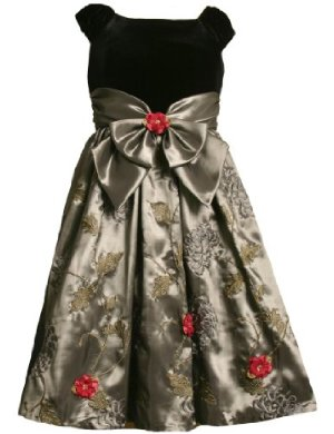 Bonnie Jean Black velvet and Silver Dress