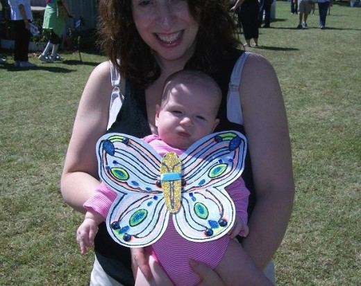 Mom says this three month old was the youngest butterfly admirer at the Festival.  Mom enjoyed the celebration activities also.