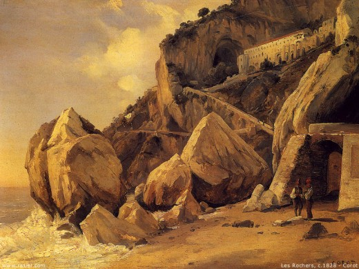 Les Rochers by Camille Corot